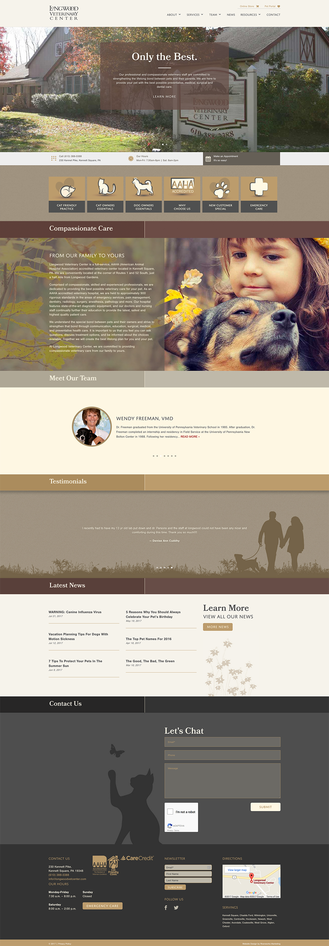 Longwood Veterinary Center Website Design